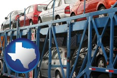 texas map icon and an automobile transport truck